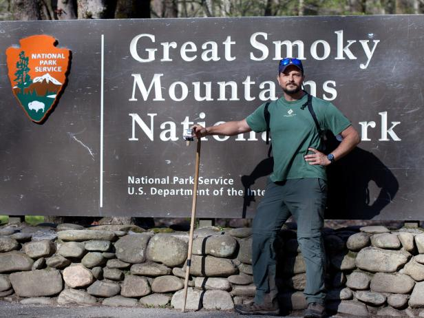 Travis Hall at Entrance to the Great Smoky Mountains National Park