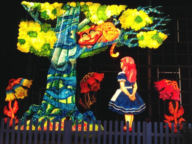A sculpture in lights homage to Lewis Carroll's Alice in Wonderland