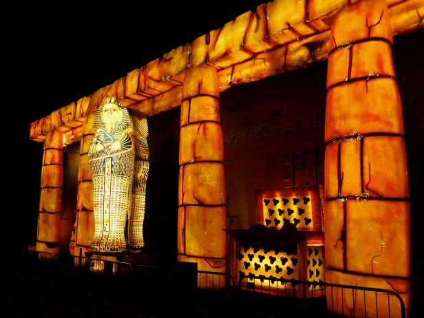 An Egyptian-themed tableaux at the Blackpool Illuminations