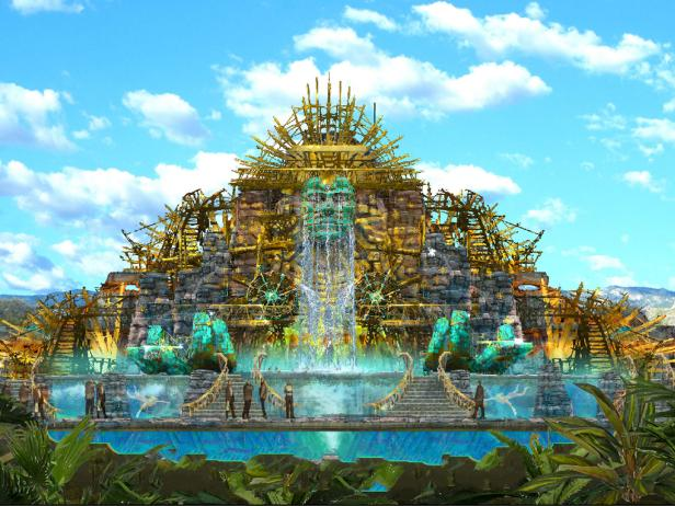 Cirque du Soleil Theme Park With Waterfall, Mexico