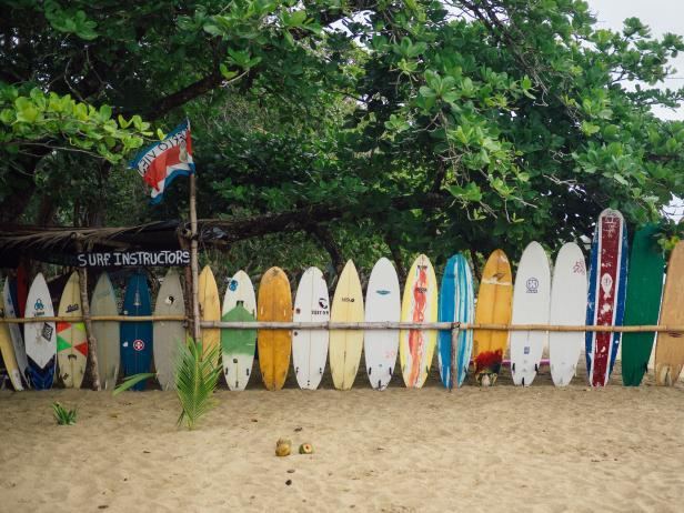 Rental surfboard on the beach