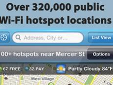 This app will sniff out your location and point out the closest hot spots (both free and paid).