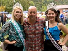 Andrew Zimmern with Miss West Virginia Roadkill and Miss Teen West Virginia Roadkill