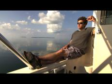 Marcus Sakey on a boat in Key West