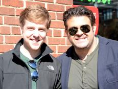 Adam Richman and Prince Chicken Coop customer Brett Wisr