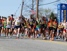 Boston Marathon race start in Hopkinton, Massachusetts