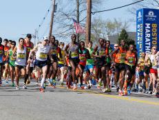 Boston Marathon race start in Hopkinton, Massachusetts