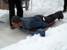 Don Wildman practices bobsledding