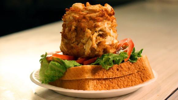 Faidley's Seafood Crab cake sandwich