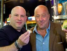 Andrew Zimmern and chef Lee Hefter eating at Glowfish Food Truck in Los Angeles