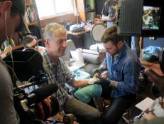Anthony Bourdain gets a tattoo