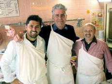 Tony Bourdain with chef Ludo Lefebvre and Auxerre butcher Monsieur Picard