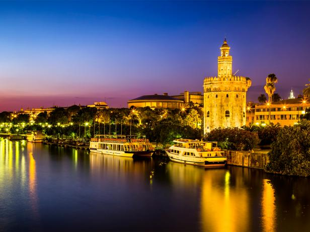 golden tower, evening, seville, spain