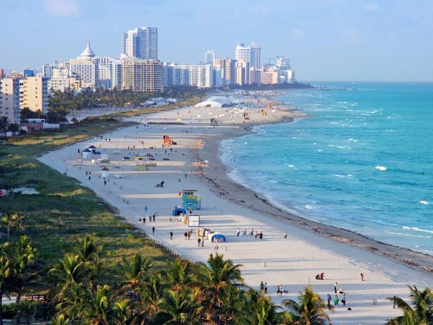 beach, shoreline, overview, miami, florida