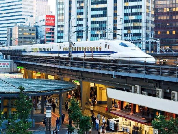 bullet train, cityscape, tokyo, japan