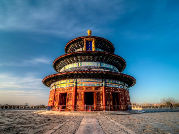 temple of heaven, sunset, beijing, china