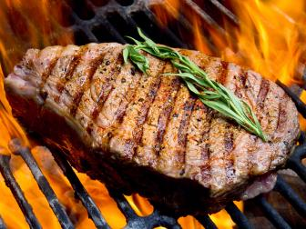 ribeye steak, grill, fire, charcoal