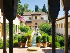 generalife, water gardens, alhambra, granada, spain