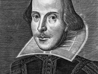 portrait, william shakespeare, title page of the first folio of shakespeare's plays, copper engraving
