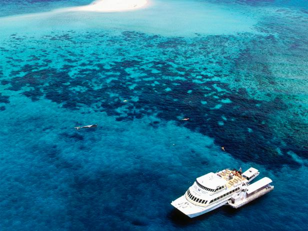 great barrier reef, boat, aerial, queensland, australia