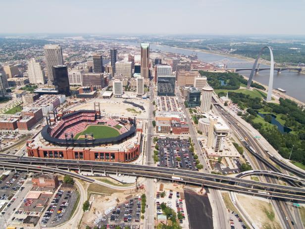 Busch Stadium, baseball, city, aerial view, St.Louis, Missouri