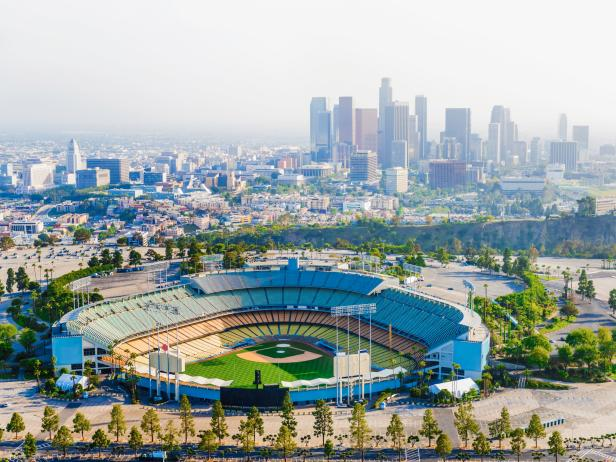 Dodger Stadium, baseball, city, aerial view, Los Angeles, California