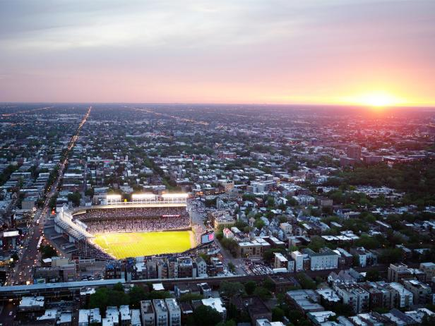 Wrigley Field, baseball, city, aerial view, Chicago, Illinois