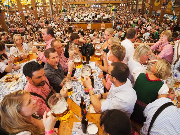 beer tent, crowd, Oktoberfest, Munich, Germany