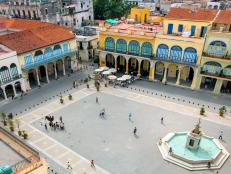 caribbean, cuba, havana, plaza in La Habana Vieha district, a UNESCO World Heritage site