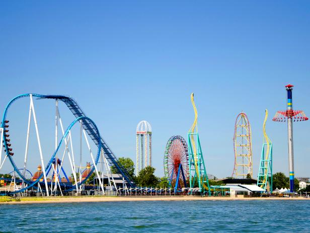 ocean bay, amusement park, several tall rides, cedar point, ohio