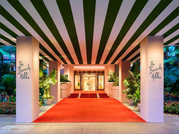 Beverly Hills Hotel, red carpet, entrance, Los Angeles, California