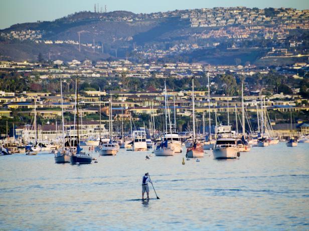 paddleboarding, Balboa Island, Los Angeles, California