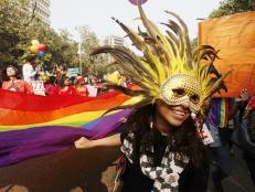 Delhi Queer Pride, parade, flag, mask