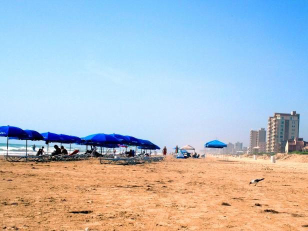 people sitting on beach chairs with umbrellas on the beach with hotels in the background on the left during the daytime