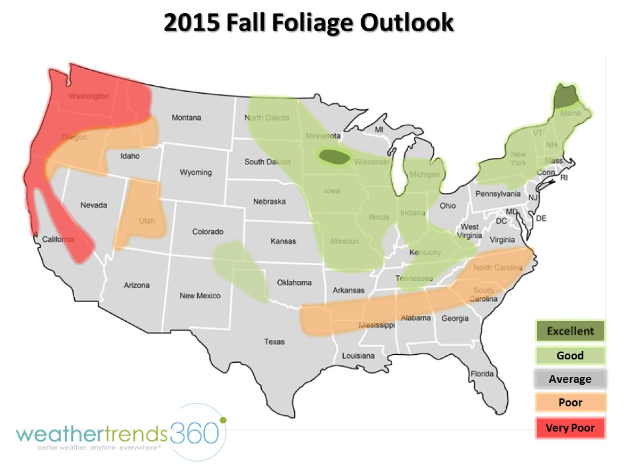 Fall Foliage Map Travel Channelcom Travel Channel - Georgia map fall line