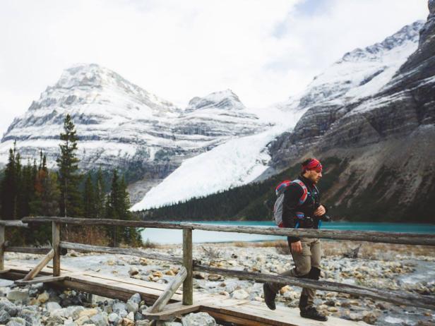 Dax Justin walking near Berg Glacier in Alberta, Canada