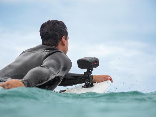 Waterproof Camera Attached to Surfboard
