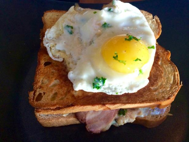 Croque Madame at Josh's Deli in Surfside, Florida