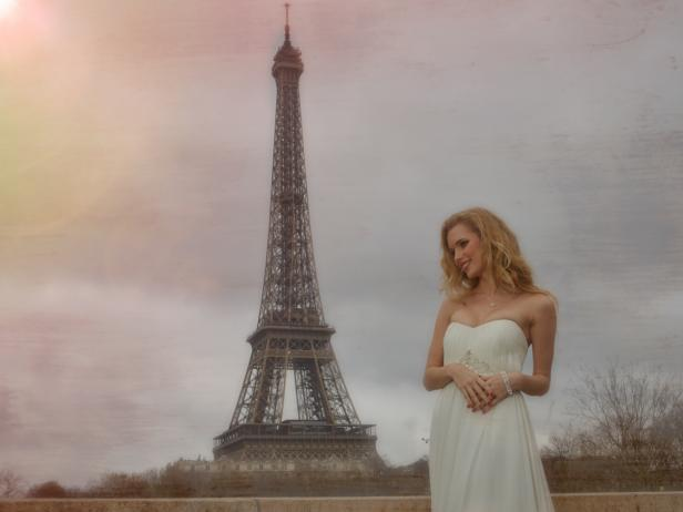 Bride At Eiffel Tower In Paris France