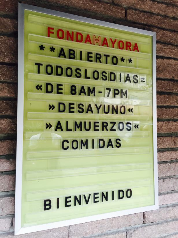 Sign at Fonda Mayora