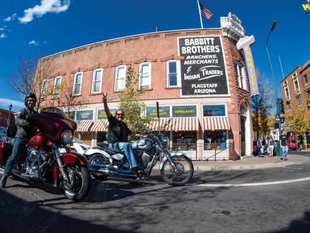 Motorcycles in Historic Downtown Flagstaff, Arizona