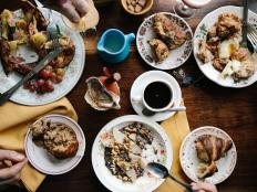 Diners Enjoy Breakfast Dishes at the Table