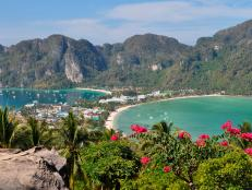 The exotic Phi Phi Island lies off the coast of Thailand in the Andaman Sea.