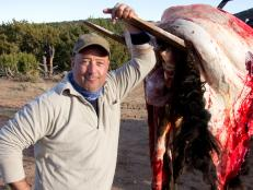 Andrew Zimmern stands next to a skinned hide of a buffalo in New Mexico