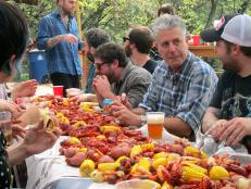 Anthony Bourdain at the Sleigh Bells Crawfish Cookout in Austin, TX