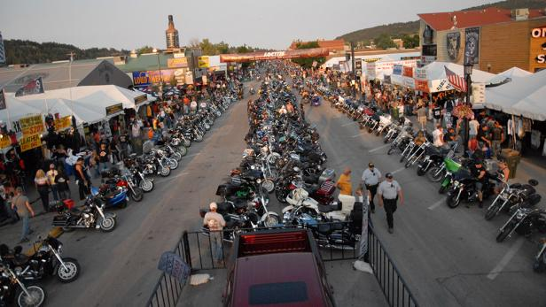 Bikers on Main Street in the Black Hills of South Dakota for Sturgis