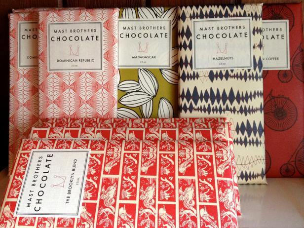 close up of wrapped chocolate bars