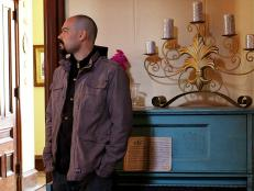 Aaron Goodwin in the Victorian mansion
