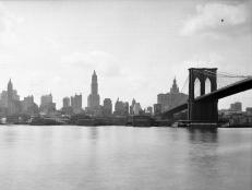 Lower Manhattan with the Brooklyn Bridge in New York City