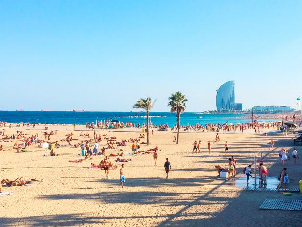 beach, ocean, barcelona, spain